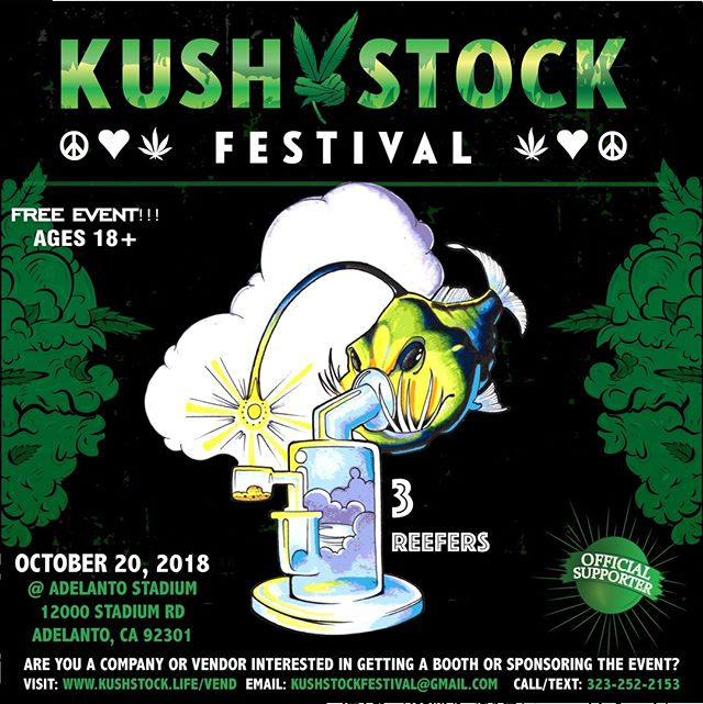 Who's ready?? @3reefers will be at #kushstockfestival 6 Saturday, October 20 @adelantostadium  Ages 18+ FREE ADMISSION . Performances by: @bonethugsnharmony_ @thekottonmouthkings_ @irienationz @comptonmenace @mrcriminal . Vip from the amazing @medicatedbarbies make sure to get your tickets at www.kushstock.life/tickets . Handicap accessible @aslforprop215patients 3 stages of music from @therollupshow and a amazing infield experience from @greenholdingsgroup with Reggae to Rock and roll.  KUSHSTOCK supports local artist with our Art is life brought to you by @sandsurfer86  Or watch a wrestling caged match with @dirtyronmcdonald  View amazing Glass Blowing from @xdabs in our Glass on Glass section. Skaters paradise with @shurikensjoint will have a half pipe from @instaramp . Companies can sign up @ www.kushstock.life/booths