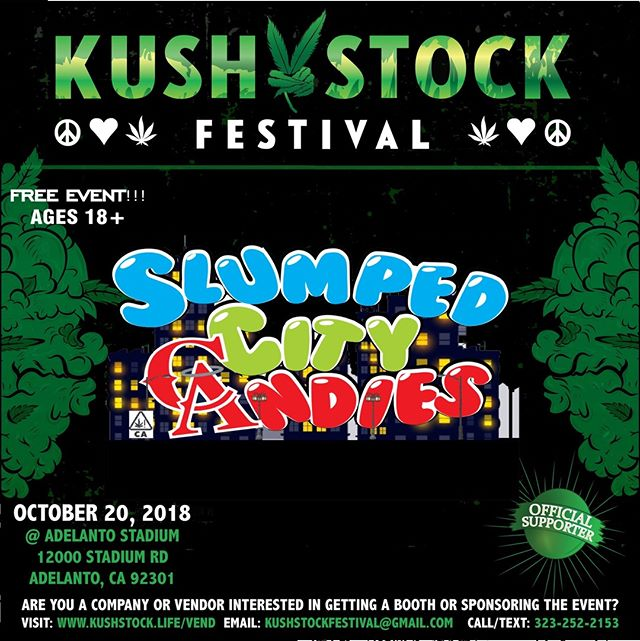 Who's ready?? @therealslumpedcitycandies will be at #kushstockfestival 6 Saturday, October 20 @adelantostadium  Ages 18+ FREE ADMISSION . Performances by: @bonethugsnharmony_ @thekottonmouthkings_ @irienationz @comptonmenace @mrcriminal . Vip from the amazing @medicatedbarbies make sure to get your tickets at www.kushstock.life/tickets . Handicap accessible @aslforprop215patients 3 stages of music from @therollupshow and a amazing infield experience from @greenholdingsgroup with Reggae to Rock and roll.  KUSHSTOCK supports local artist with our Art is life brought to you by @sandsurfer86  Or watch a wrestling caged match with @dirtyronmcdonald  View amazing Glass Blowing from @xdabs in our Glass on Glass section. Skaters paradise with @shurikensjoint will have a half pipe from @instaramp . Companies can sign up @ www.kushstock.life/booths