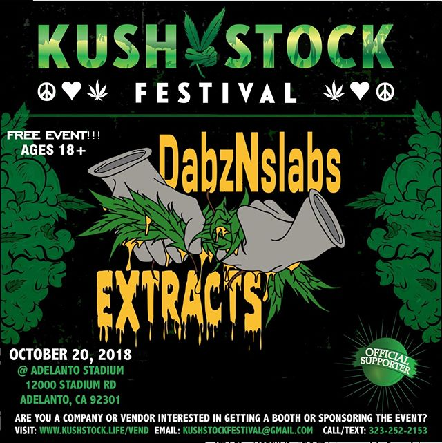 Who's ready?? @dabsNslabsextracts will be at #kushstockfestival 6 Saturday, October 20 @adelantostadium  Ages 18+ FREE ADMISSION . Performances by: @bonethugsnharmony_ @thekottonmouthkings_ @irienationz @comptonmenace @mrcriminal . Vip from the amazing @medicatedbarbies make sure to get your tickets at www.kushstock.life/tickets . Handicap accessible @aslforprop215patients 3 stages of music from @therollupshow and a amazing infield experience from @greenholdingsgroup with Reggae to Rock and roll.  KUSHSTOCK supports local artist with our Art is life brought to you by @sandsurfer86  Or watch a wrestling caged match with @dirtyronmcdonald  View amazing Glass Blowing from @xdabs in our Glass on Glass section. Skaters paradise with @shurikensjoint will have a half pipe from @instaramp . Companies can sign up @ www.kushstock.life/booths