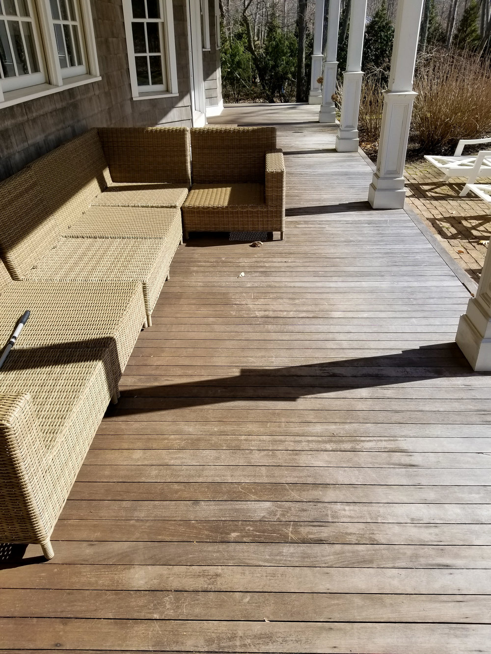 Mahogany Deck Resurface & PVC Column Install Before
