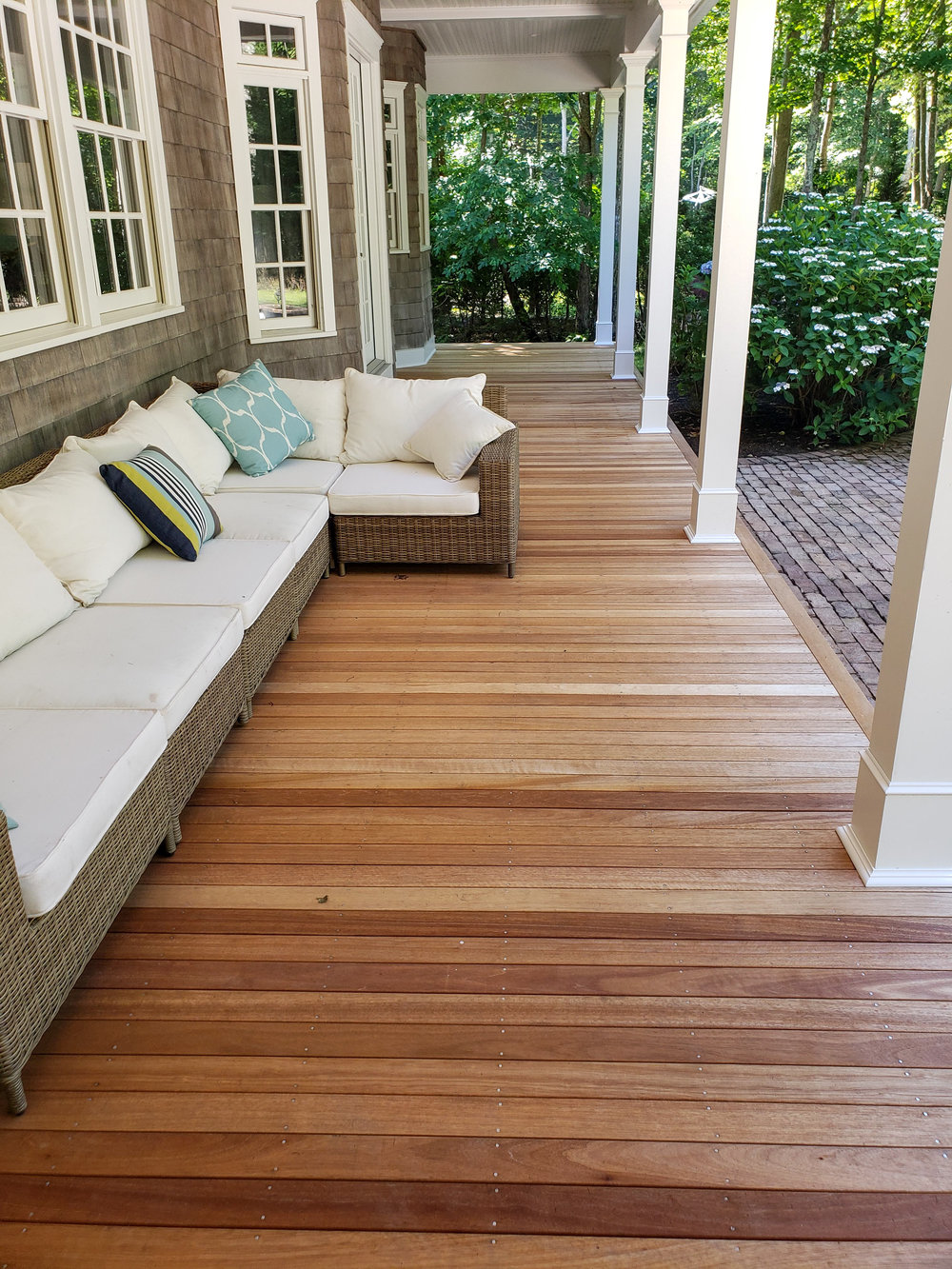 Mahogany Deck Resurface & PVC Column Install After