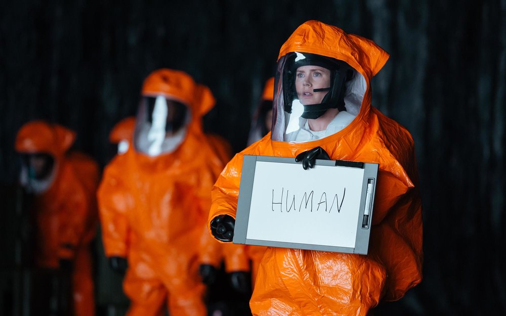 Louise Banks (Amy Adams) tries to breach a linguistic divide between humanity and mysterious alien visitors