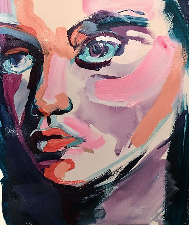 **SOLD  Portrait color study. 💜11x14 Acrylic on paper.