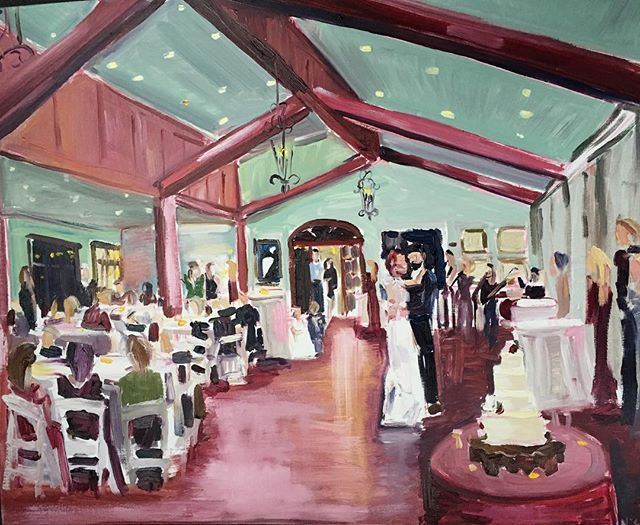 Absolutely love this wedding painting I made for @katielattanzi1 It is always a blessing to capture such a beautiful day! @parc73_reception_center  #weddingpainting #weddingpainter #livepainting
