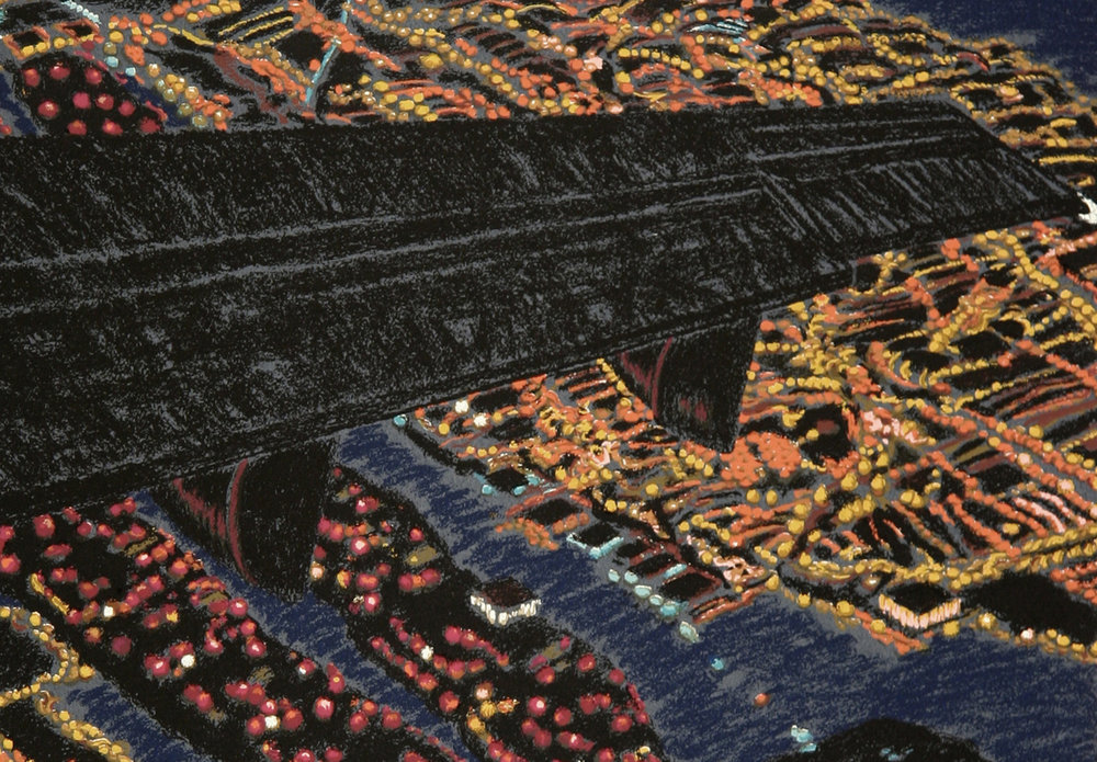 "Night View Wing I   (detail) by Yvonne Jacquette 1992, 15-c screenprint, sh: 29.75""x 21.75"", ed: 48. $6000. (rare)"