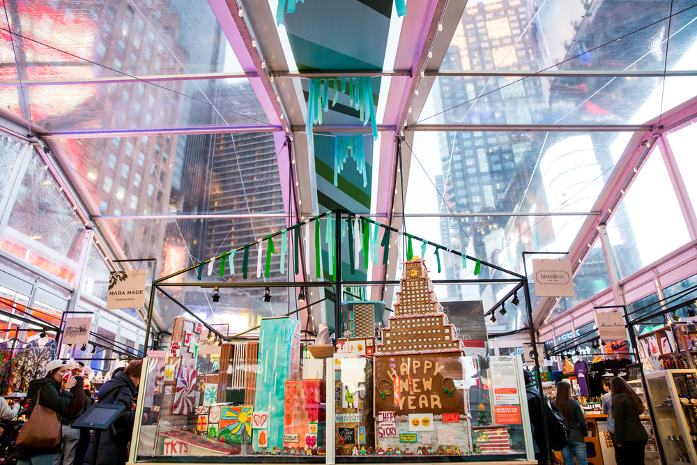 International Culinary Center (ICC) created a custom Gingerbread House at GIFTED in Times SQ.