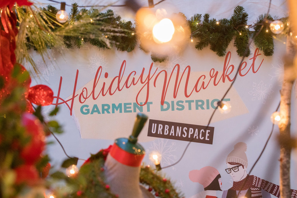 Garment District Holiday Market stretches down Broadway from W 41st Street to W 39th Street.