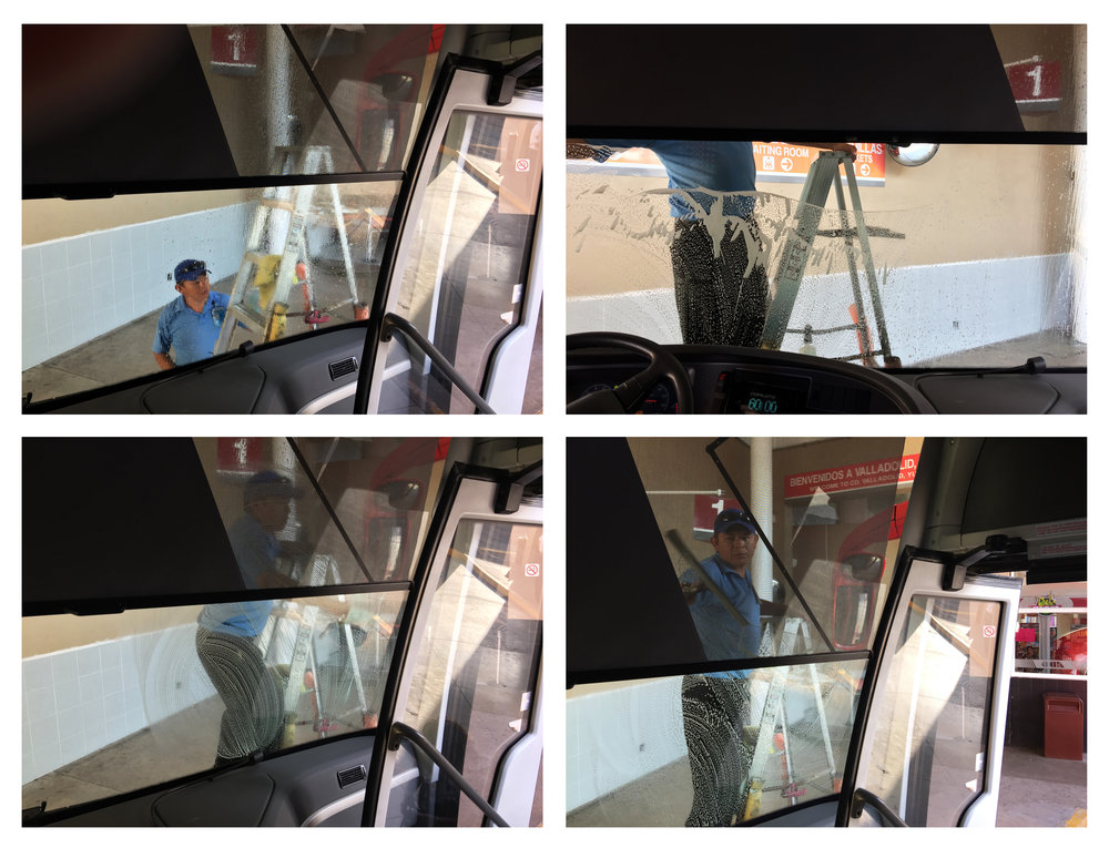 bus windshield cleaning, valladolid, mexico - Highly entertaining activity for the solo O-C traveler, when everyone else is inside the bus station buying snacks during this brief stop-over.