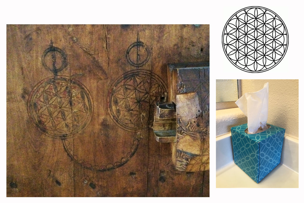 the flower of life - Pattern of overlapping circles with hexagonal symmetry. Examples on a door in Morocco and a tissue box in my bathroom.