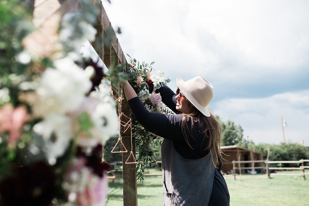 Brittany Mullane Owner Lead Designer - Pine for Cedar - The Gathered - Floral Arch - Calgary Wedding Florist - Deanna Rachel Photography.jpg