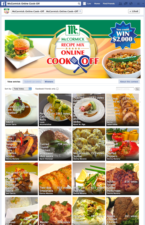 McCormick Online Cook-Off Facebook Contest