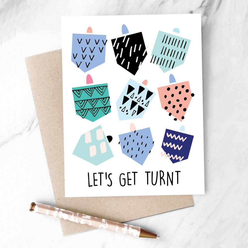Lets Get Turnt Dreidel Hanukkah Greeting Card Hooray All Day