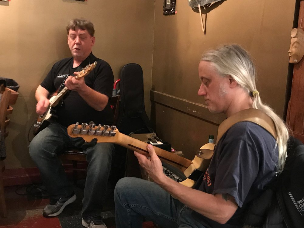 Second Monday - Steve Doyle guitar & Brian Wilkie guitarTwo extraordinary guitarists sitting side by side, face to face. Having fun.