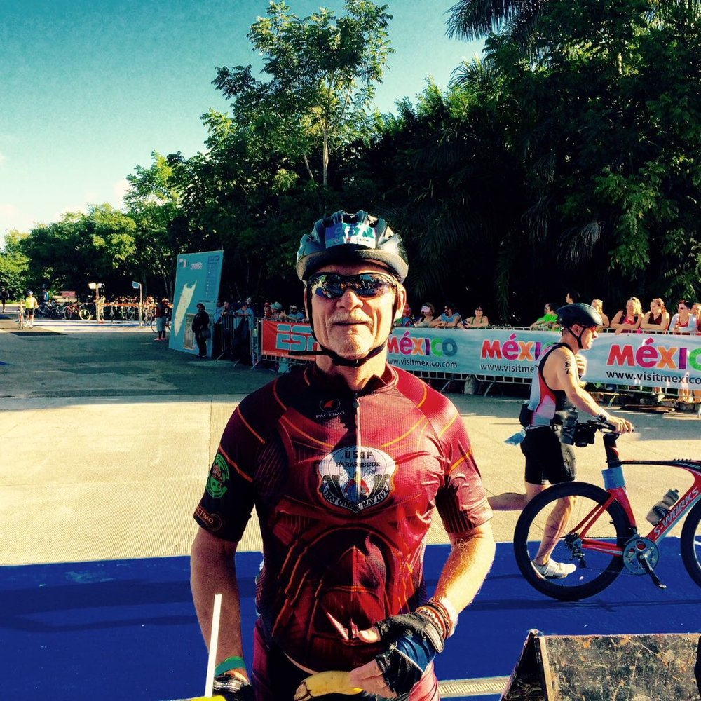 Wearing Pararescue Bike clothes in Ironman Mexico 2106
