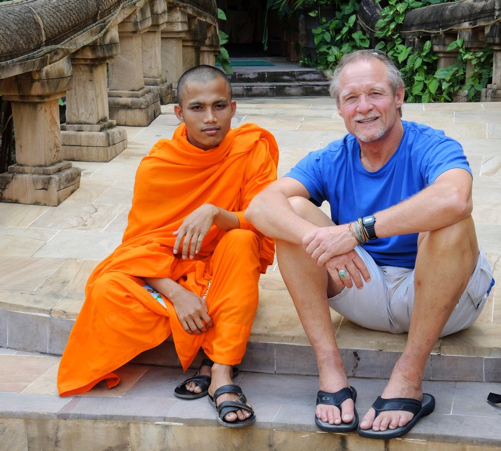 In Cambodia with Buddhist monk English student