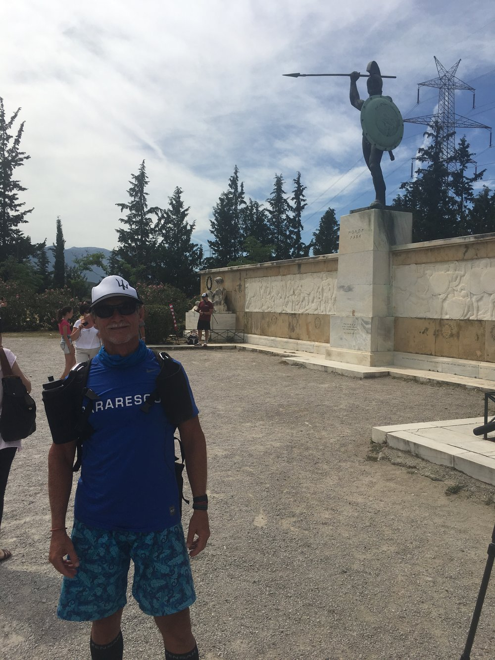 "In Thermopile Greece at the Finish site of the famous Greek battle by King Leonidas and his 300 Men. He is the George Washington of Greece. This is one of the many national statues honoring the ""300"""