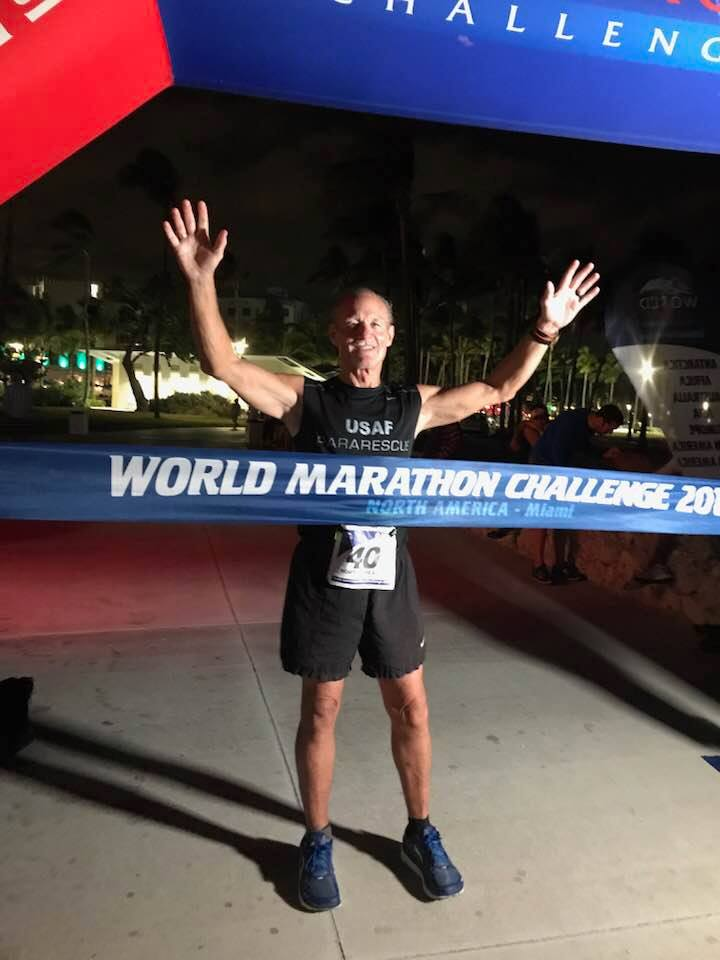 Robert completing the 2018 World Marathon Challenge
