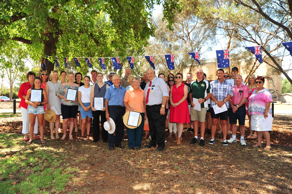 Mayor John Seymour OAM, with Citizen's of the year Neville and Sylvia Gillett and other award nominees.