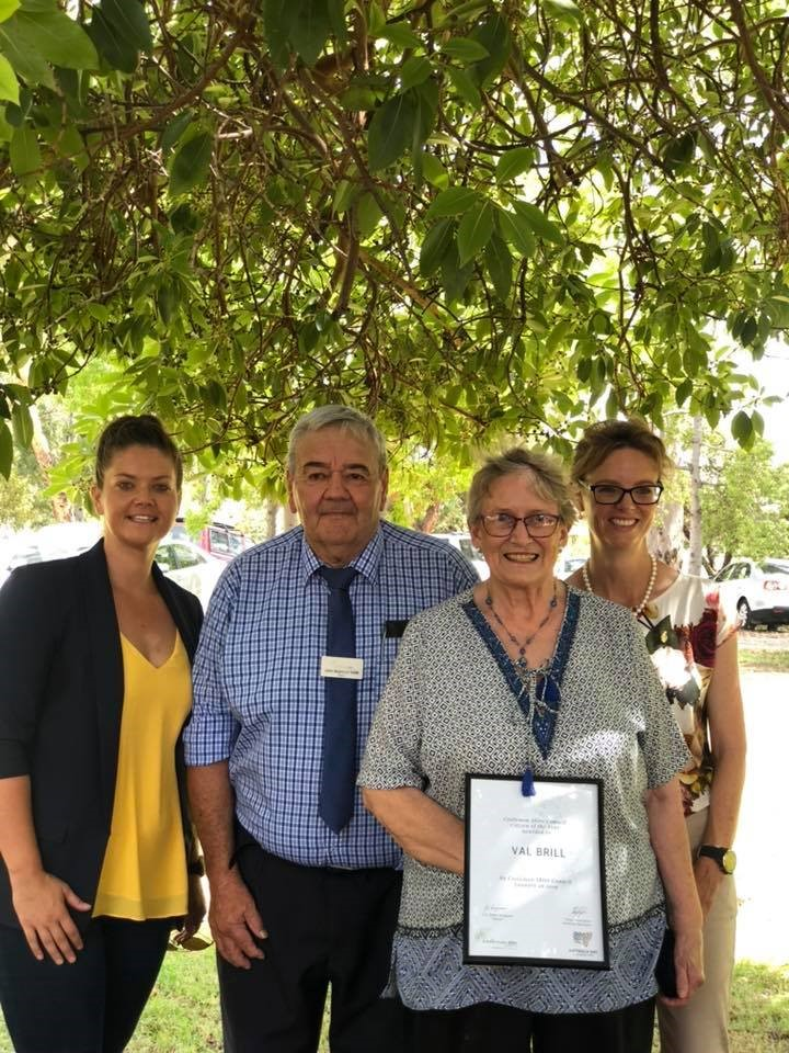 Above: L-R  Kath Koschel, Australia Day Ambassador, Mayor John Seymour OAM, 2019 Coolamon Shire Citizen of the Year Val Brill, Steph Cooke MP