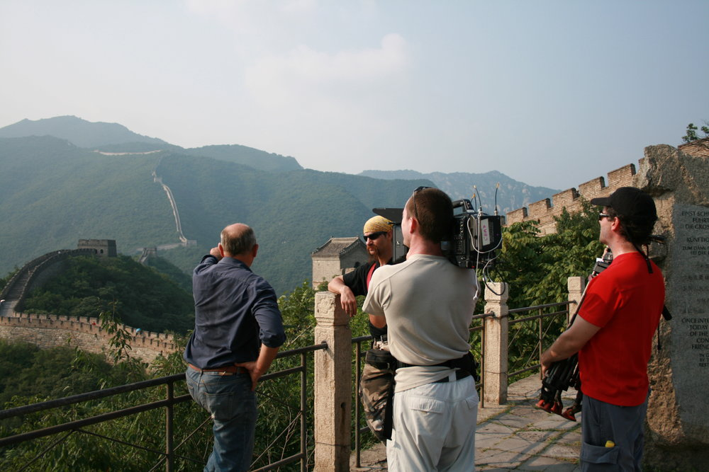 On the Great Wall of China filming Weapon Masters with Mike Loades, Chad Housekneck and Paul Kirsop