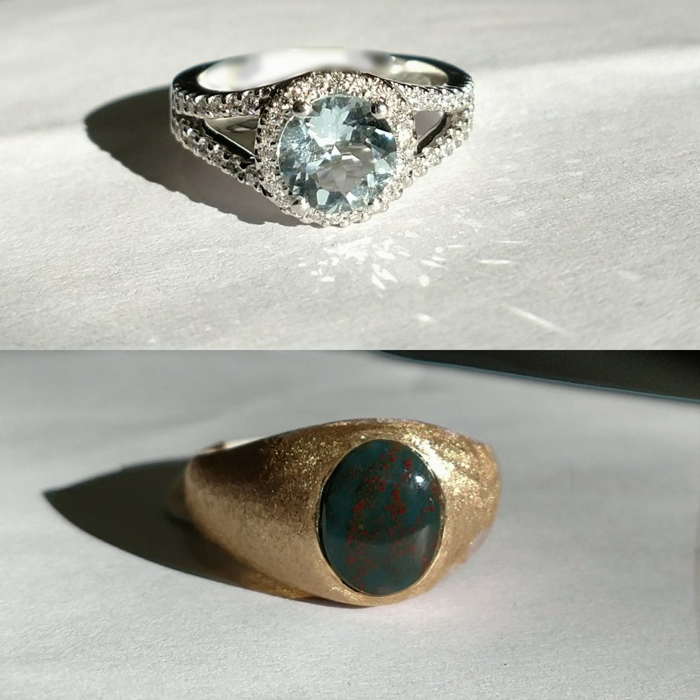 Aquamarine Ring & Bloodstone Ring