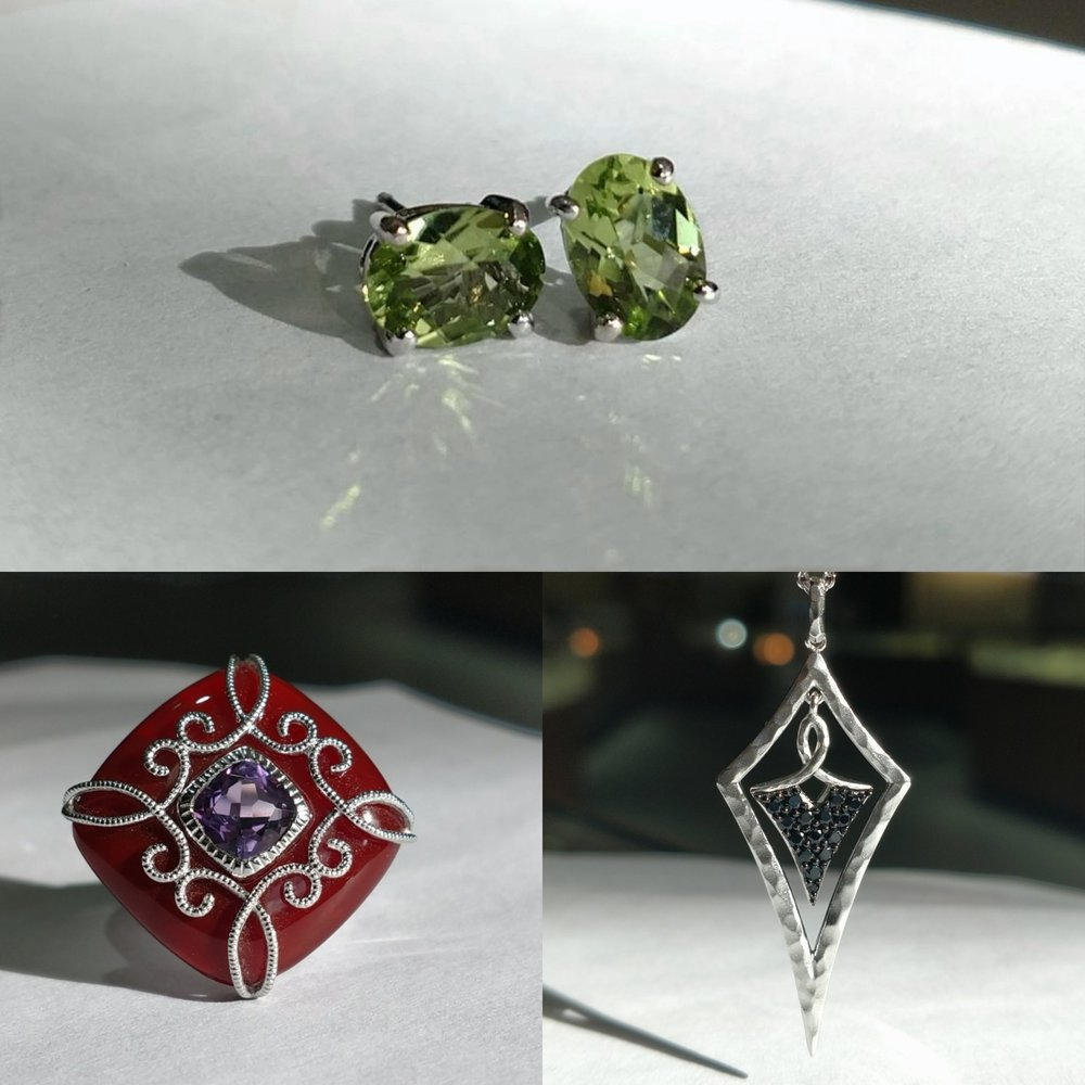 Peridot Earrings, Sardonyx ring, Spinel Pendant