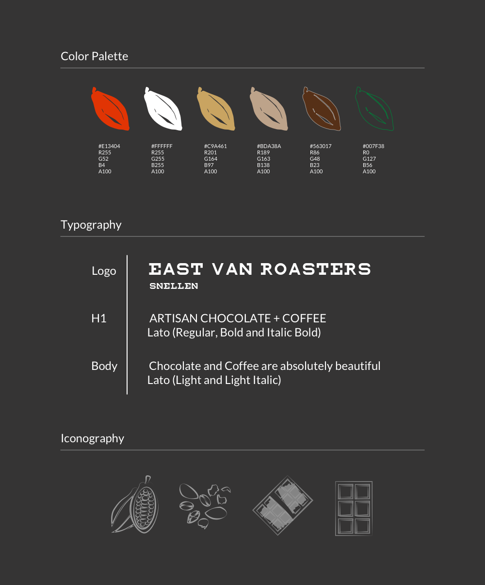 - Style guide was created based on the moodboard, to make sure the important elements are carried through. EVR prides themselves in the bean-to-bar process, and the bean has a strong presence in the brand identity. Font Lato was chosen to bring a sense of calmness in contrast to the eccentric main logo font of 'snellen'.Icons were created to illustrate the bean-to-bar process, outlined in light grey against the black to give a hand-drawn look.