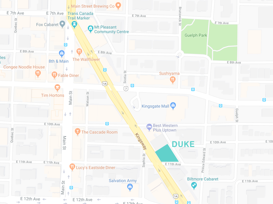 DUKE is located in Mount Pleasant, surrounded by fun local businesses. It also has a unique building shape of a trapezoid -
