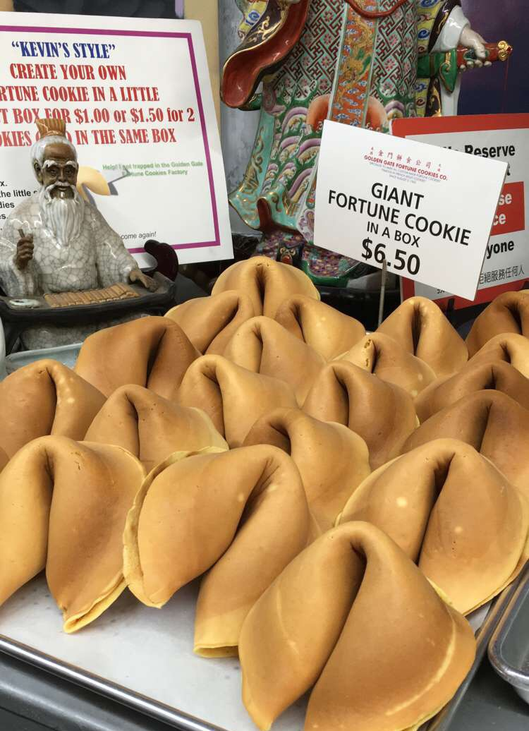Giant fortune cookies for sale at the Golden Gate Fortune Cookie Factory