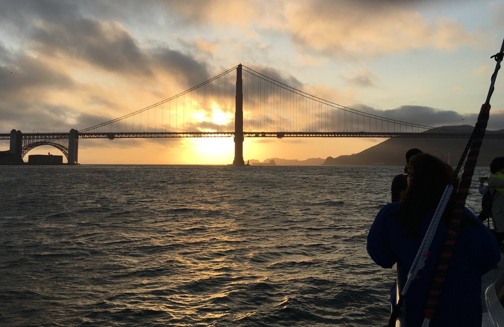 View of the Golden Gate Bridge from a sunset cruise