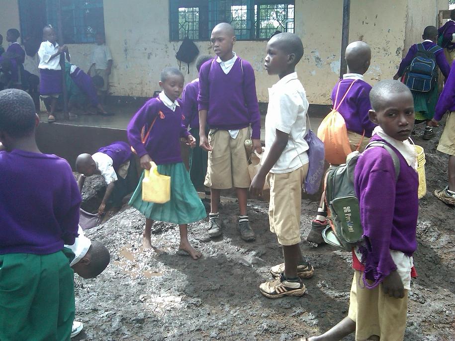 Schoolchildren between classes