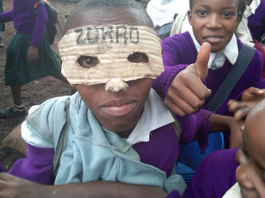A student reenacting the movie 'Zorro'