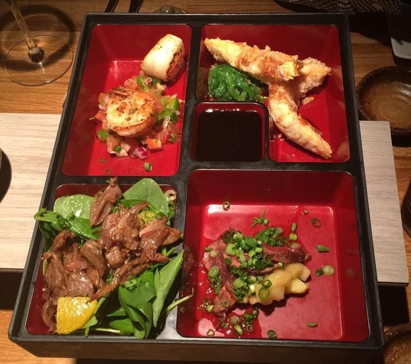 Meal at Rub 23 | Clockwise: Scallops, shrimp, reindeer tataki, duck
