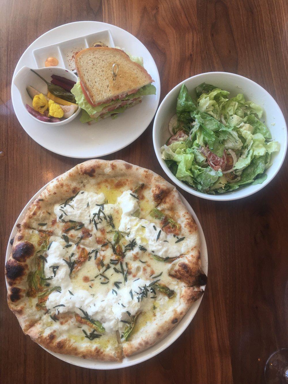 Burrata pie pizza at Bluegold