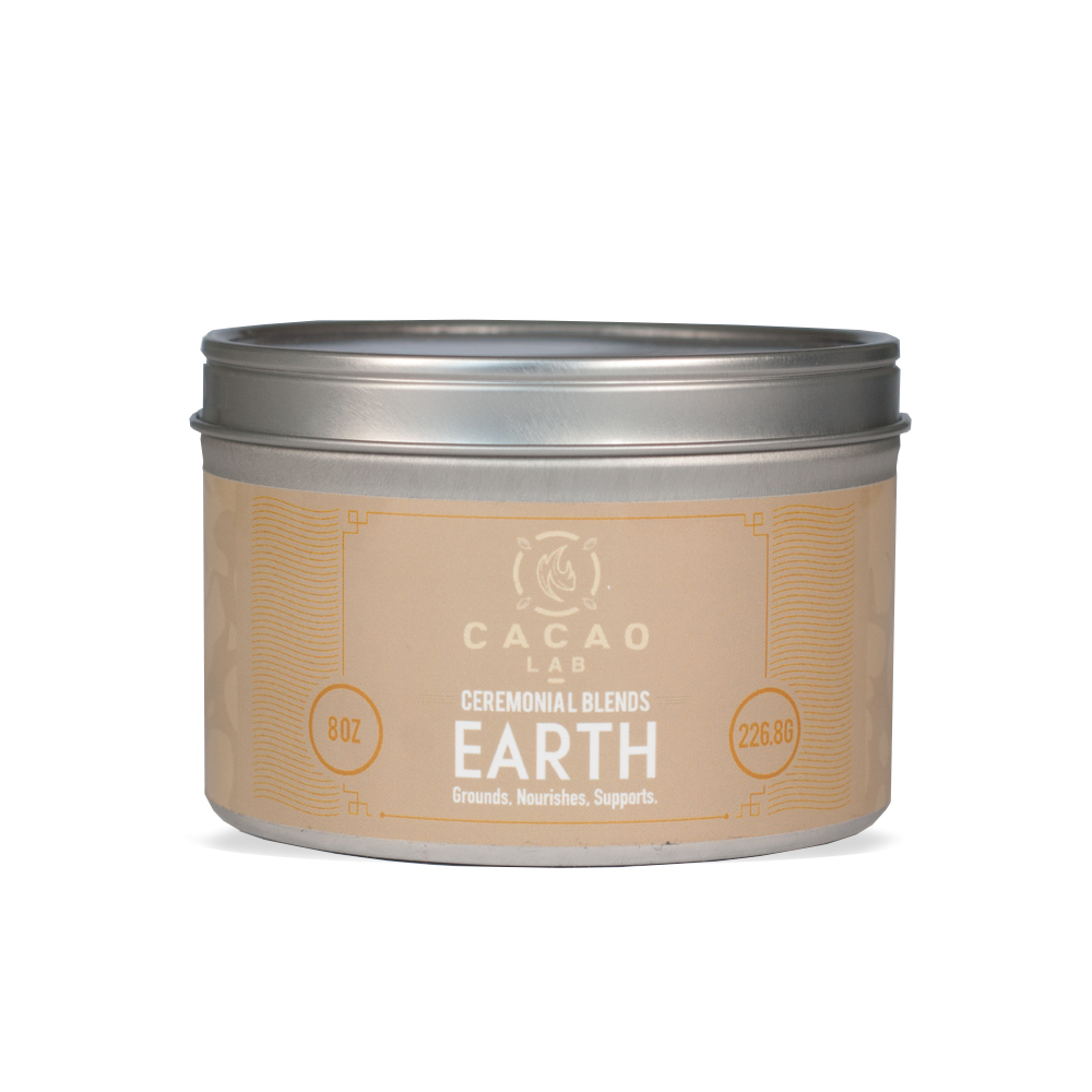 EARTH CACAO BLEND:   EARTH IS OUR FOUNDATION. IT REPRESENTS YOUR PHYSICAL BODY AND EMOTIONAL ROOT SYSTEM. WORKING WITH THE EARTH ELEMENT YOU CAN ORGANIZE YOUR THOUGHTS AND BRING STRUCTURE TO YOUR LIFE. THIS CEREMONY WILL HELP YOU GROUND YOURSELF AND BRING STABILITY BACK INTO YOUR LIFE.
