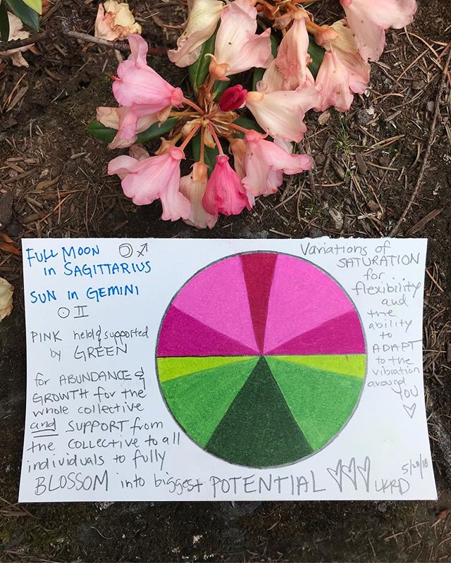 💚💗 COLOR MEDICINE 💗💚 full moon in Sagittarius ♐️ sun in Gemini ♊️ PINK 💐 and GREEN for this Flower Moon 🌝MAY WE ALL FEEL SUPPORTED BY THE COLLECTIVE TO BLOOM AND RISE INTO OUR FULLEST POTENTIAL ✨ AND RECIPROCATE THAT VIBRATION BY RECOGNIZING THAT WE ARE A MIRROR FOR THE WORLD AROUND US 🌷 PINK AND GREEN to activate and motivate from the HEART 💚💗 and keep our actions and intentions in line with the collective greatest good 💗 PINK for Goddess and Abundance and 💚 GREEN for sourcing from the Earth and finding balance and roots in that natural space 🍡Variations of saturation's for FLEXIBILITY through this time 🍡💫💚💫💗💫💚💫💗💫💚💫💗💫💚💐💐💐💐💐💐💐💐 #fullmooninsagittarius #flowermoon #colormedicine #colormedicinewheel #colorhealing #colormagic #lifeincolor #pink #green #pinkandgreen
