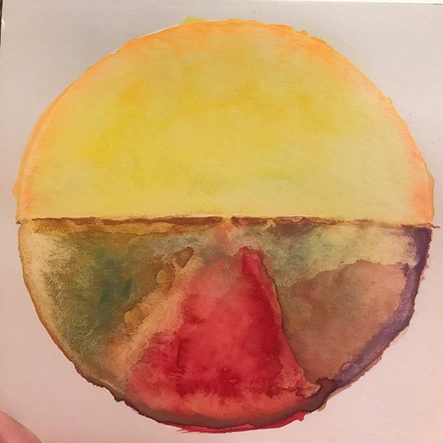 Color Medicine Wheel - returning back to NYC after a month on the road! Rising from resistance of getting back to social and personal routines into a whole new form of inspired personal power to carry out the many plans that were made while traveling through June! Arriving back to NYC for the peak sun !!! Watercolor on paper ✨ #colormedicinewheel #colortherapy #colorexpression #speakingincolors #spectrumexperiment #roxiedarling