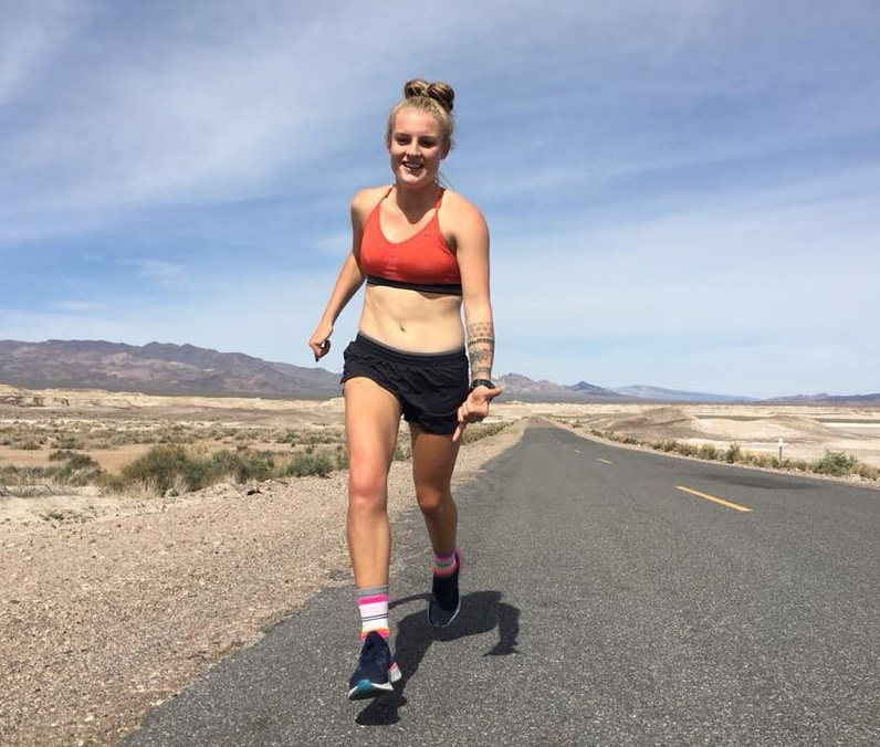 Picture of Alana Running down Death Valley Highway on her way from Los Angeles to Las Vegas.