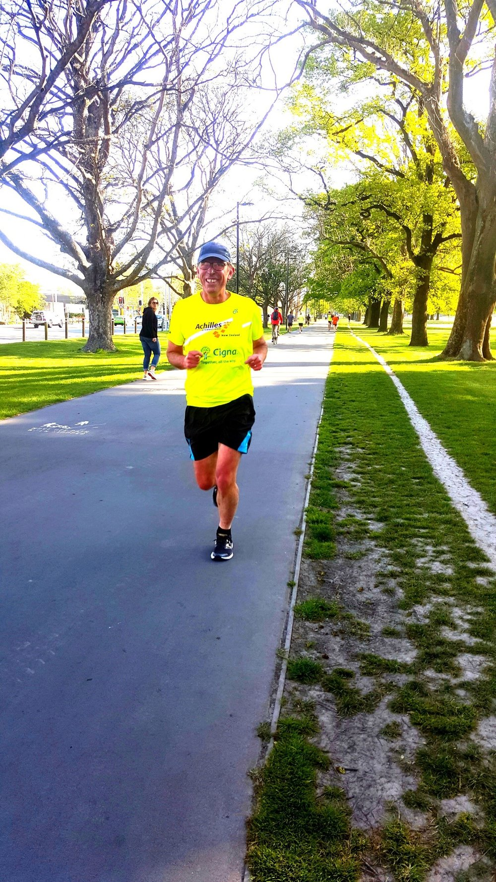 Mike Running down the street in Christchurch.