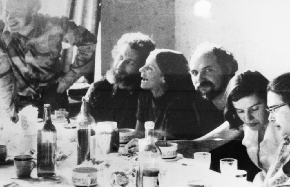Connie Smukler (third from left) in a Soviet flat. Natan Sharansky by the window; Smukler is flanked by two other Refuseniks; and Ida Nudel, a famous female Refusenik, is on the end. Courtesy of Connie Smukler.