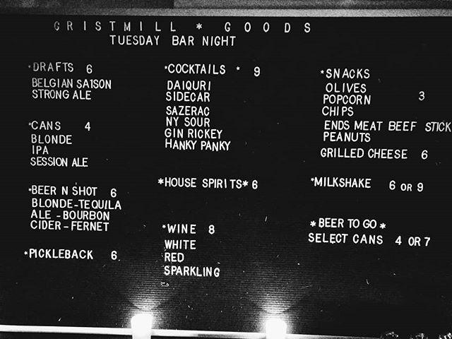 Gristmill quality at dive bar prices. Only on Tuesdays! We're here, what's your excuse?  #gristmill #gristmillbk #parkslope #brooklyn#brooklyneats #eeeeeats #f52grams#yahoofood #eater #feedfeed #chefsfeed#foodintheair #foodandwine#chefsofinstagram #foodporn #newforkcity#nytimes #foodandwine #eatupnewyork #instafood#farmtotable #nyceats#eaterny #buzzfeast #nyceeeeeats#grubshotsnyc #eatingnyc #drink #imbibe