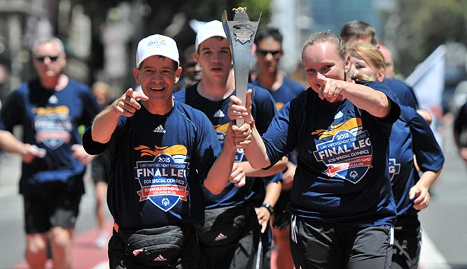 From the Special Olympics website: The Final Leg team carries the torch throughout California en route to the Opening Ceremony of the 2015 Special Olympics World Summer Games in Los Angeles.