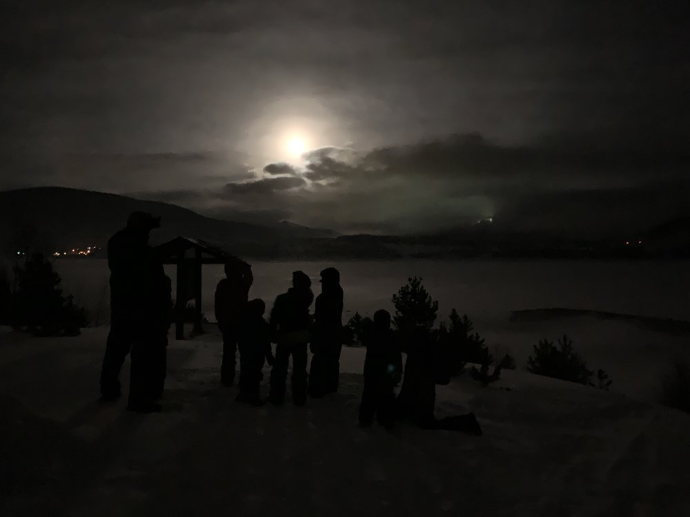 The full moon did not disappoint on our frozen trek out on the lake!