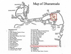 Map of Dharamsala showing location of the Lelung Literature Preservation Centre. The centre is currently working to compile and publish sixteen volumes of manuscripts by the Fifth Lelung Rinpoche (1697-1740)