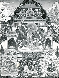Lhamo Nyima Shyonnu, a special protector of the Lelung teachings. This thangka, which was commissioned in 1998, belongs to the 11th Lelung Rinpoche