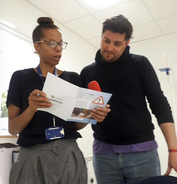 Dr Natalie Darko from the Centre for BME Health talks radio personality Jimmy Carpenter through his type 2 diabetes risk as part of the BBC Leicester slot