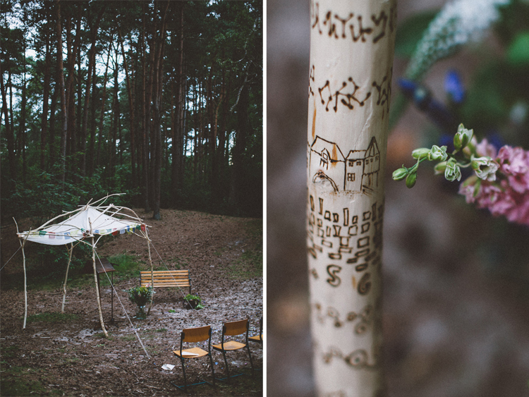 bohemian wedding in the woods - handmade ceremony backdrop | photo by 88forever | Styling by Inspire Styling Weddings