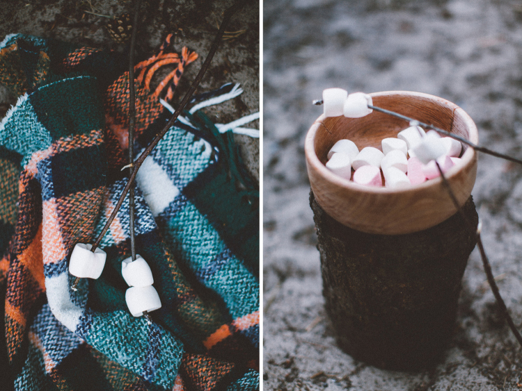 bohemian wedding in the woods - campfire, marshmallow roasting | photo by 88forever | Styling by Inspire Styling Weddings