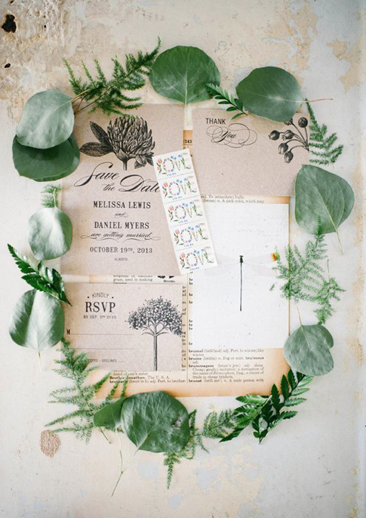 Botanical wedding inspiration, invitation by Three Eggs Design - photo by Aubrey Renee Photography