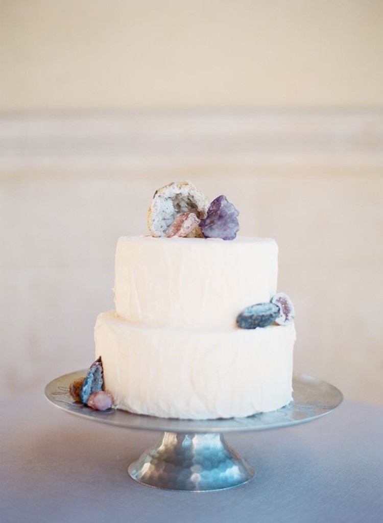 wedding cake with amethyst details - photo by Taylor Lord